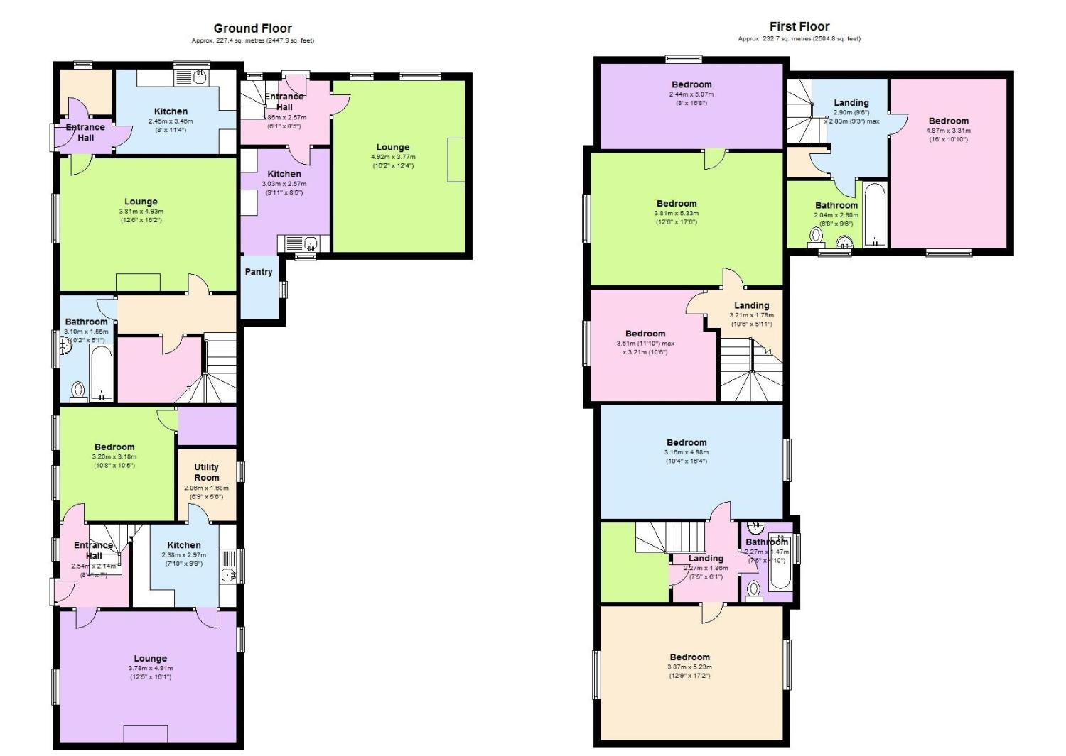 Floorplans for Sunlawshill Cottages, Heiton, Kelso, TD5
