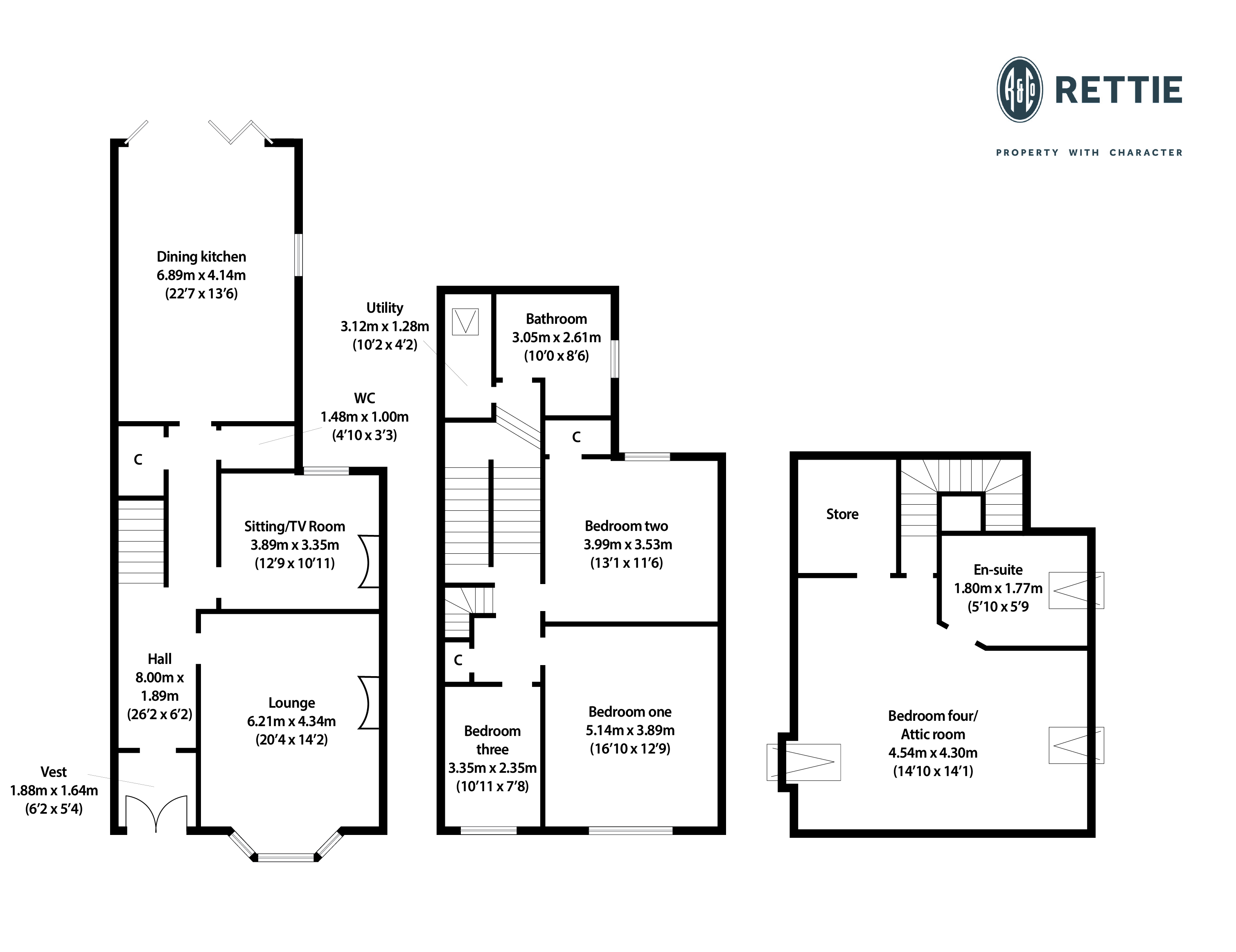 Floorplans for Cluny Villas, Jordanhill, Glasgow, G14