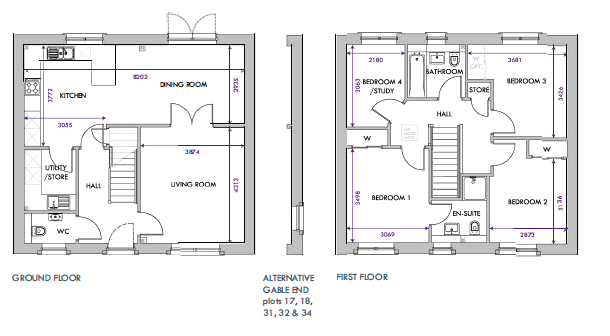Floorplans for Plot 19, The Roxburgh, Abbey Gardens, Old Craighall, EH21