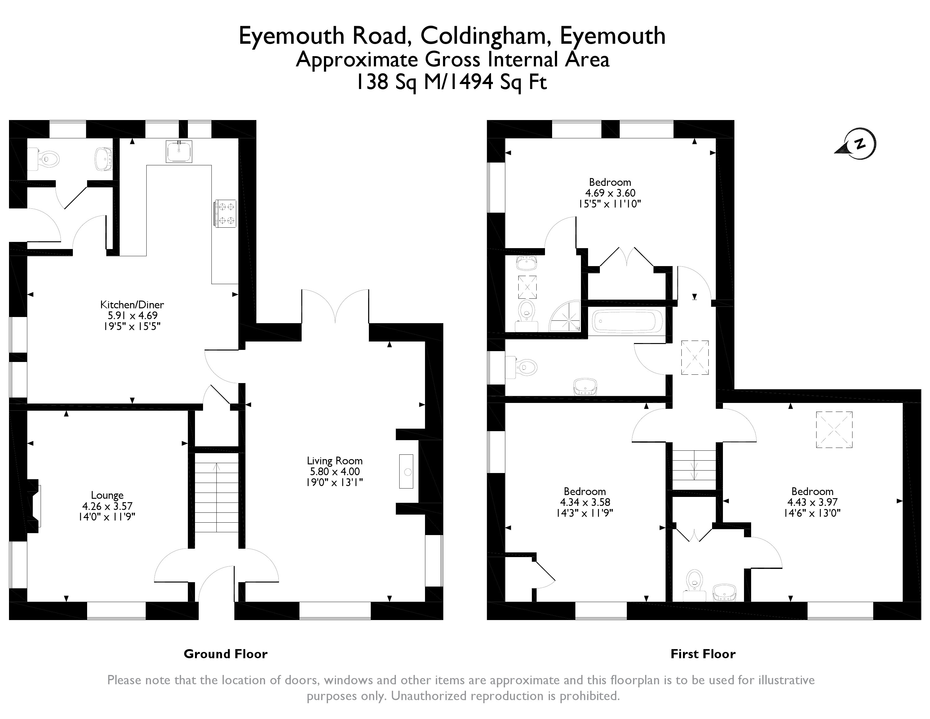Floorplans for Eyemouth Road, Coldingham, Berwickshire, TD14