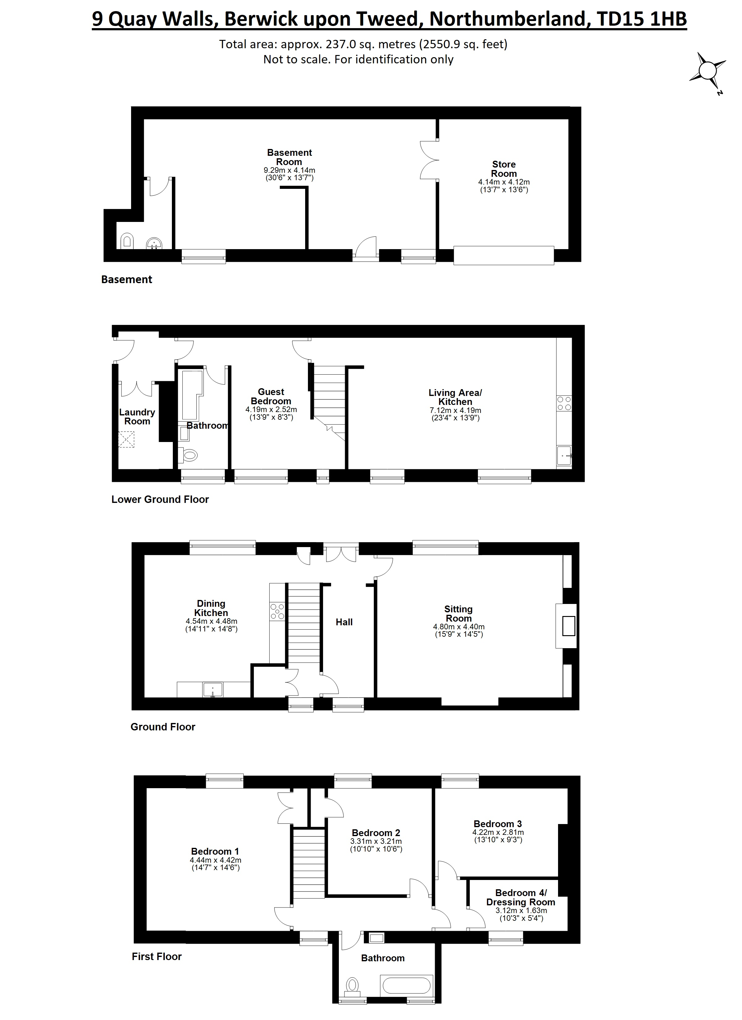 Floorplans for Quay Walls, Berwick-upon-Tweed, Northumberland, TD15