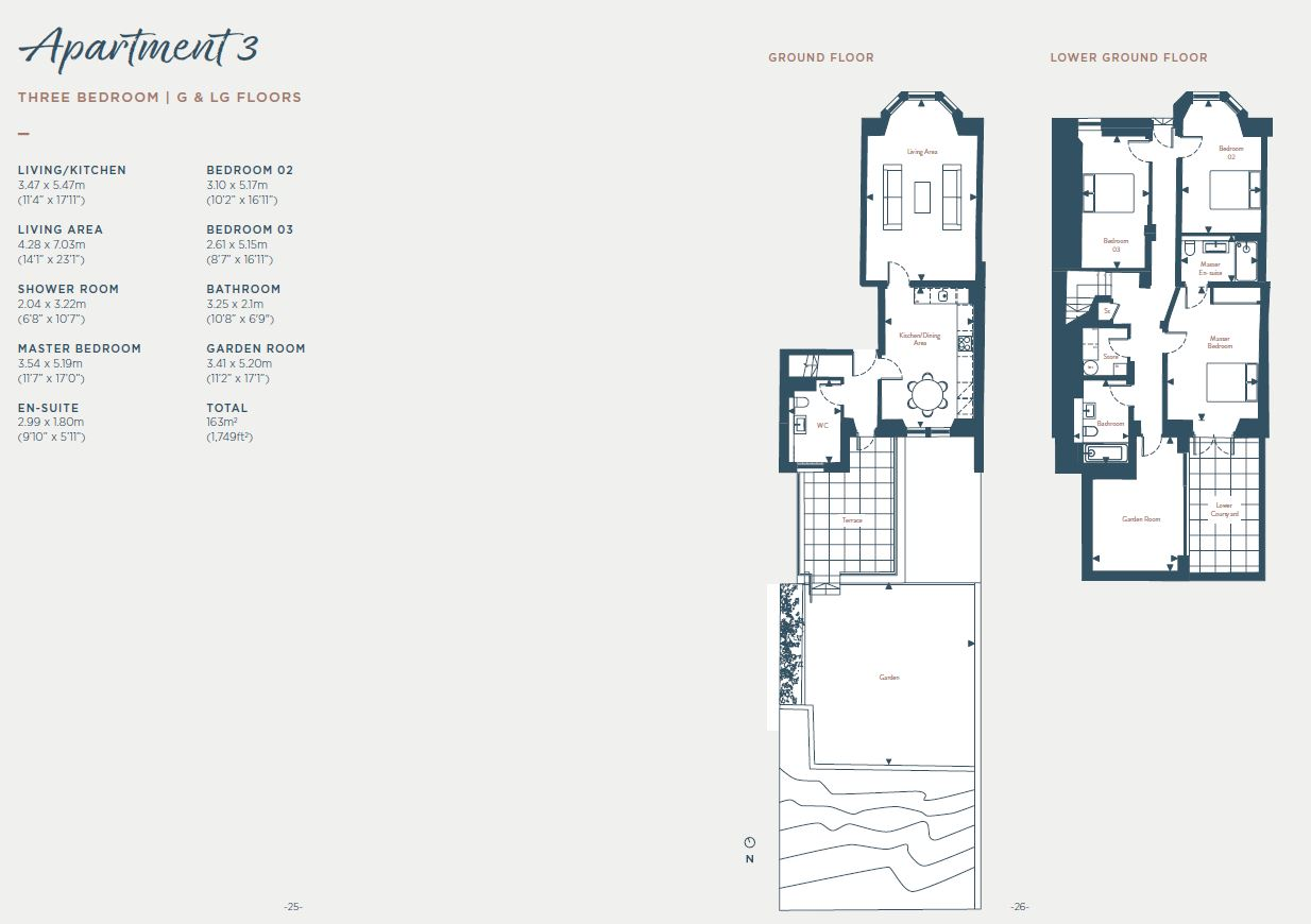 Floorplans for Apartment 3, South Learmonth Gardens, Edinburgh, EH4