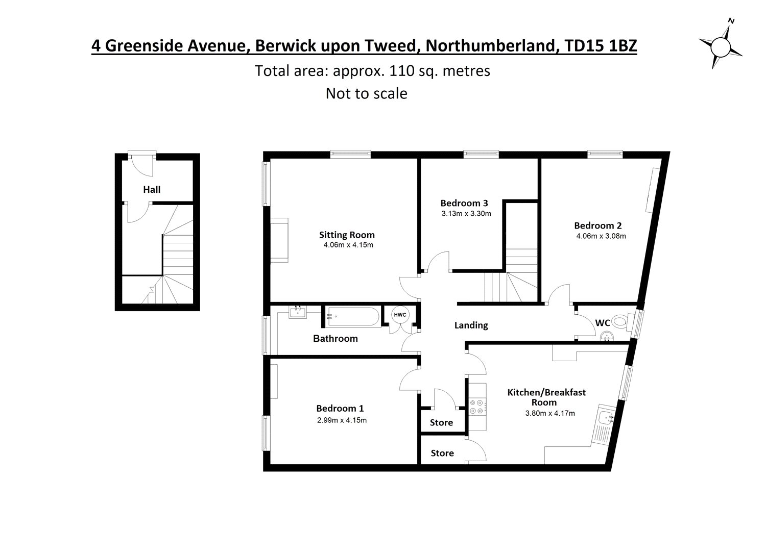 Floorplans for Greenside Avenue, Berwick-upon-Tweed, Northumberland, TD15