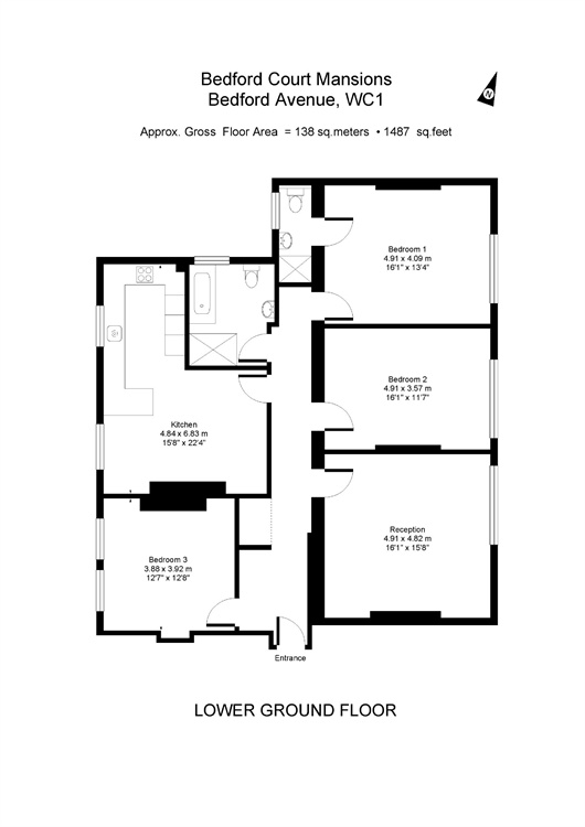 Bedford Court Mansions, Bloomsbury, London, WC1B floorplan