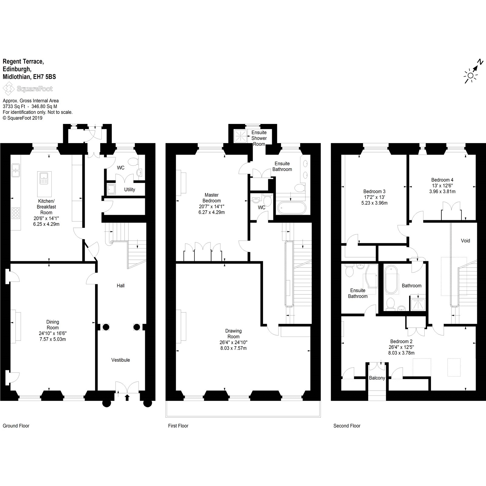 Floorplans for Regent Terrace, Edinburgh, Midlothian, EH7