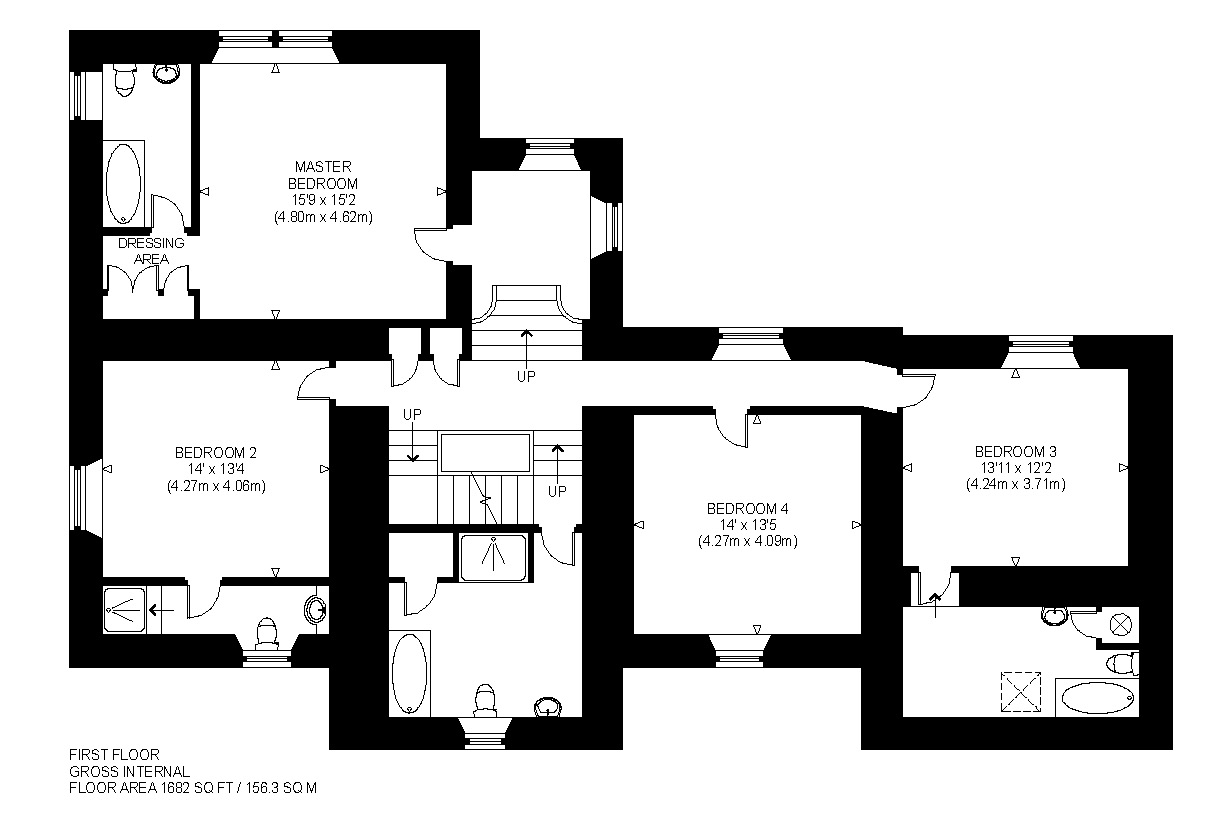 Floorplans for Brookfield House, By Gleneagles, Perthshire, PH4