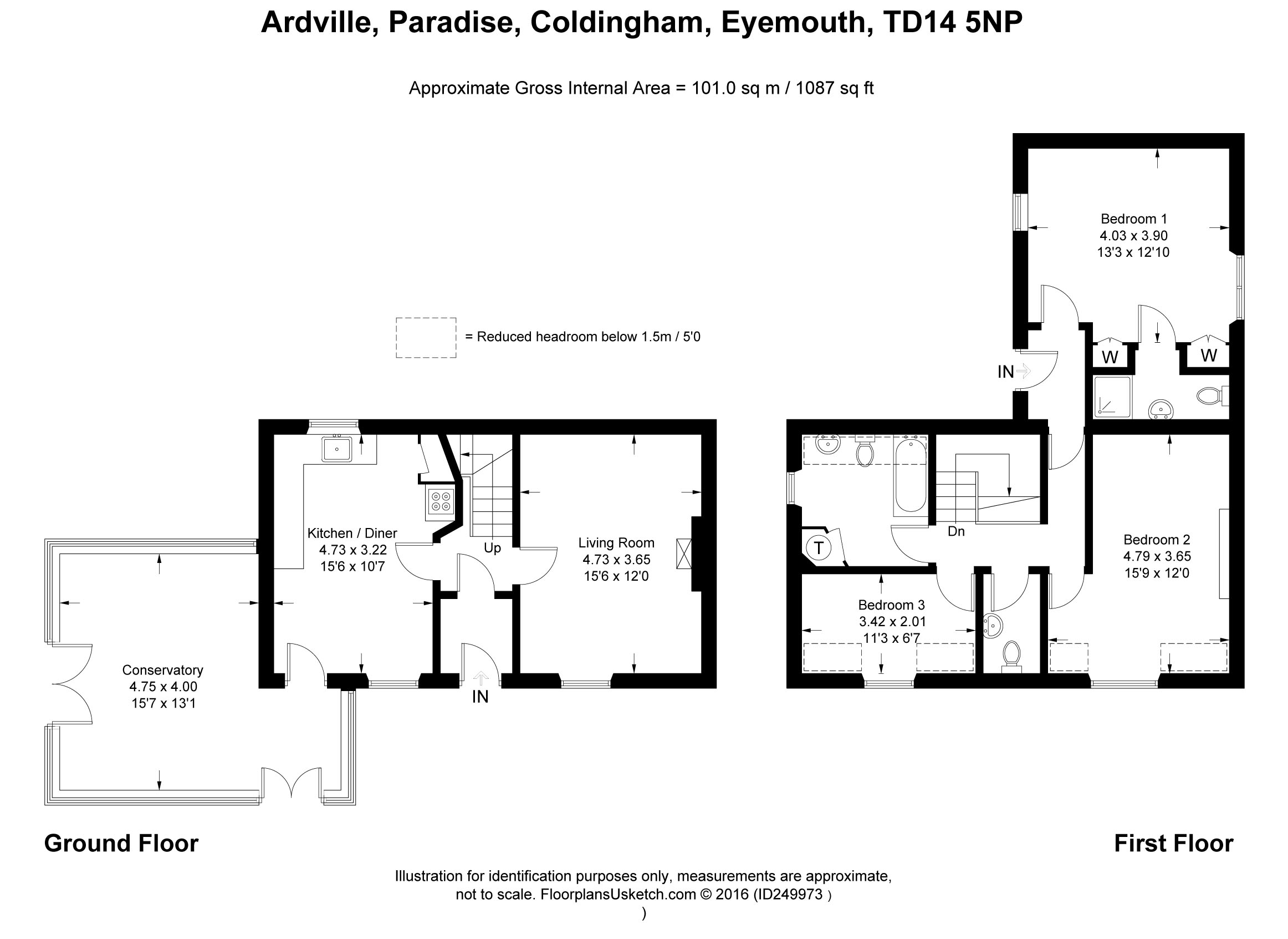 Floorplans for Paradise Lane, Coldingham, Berwickshire, TD14
