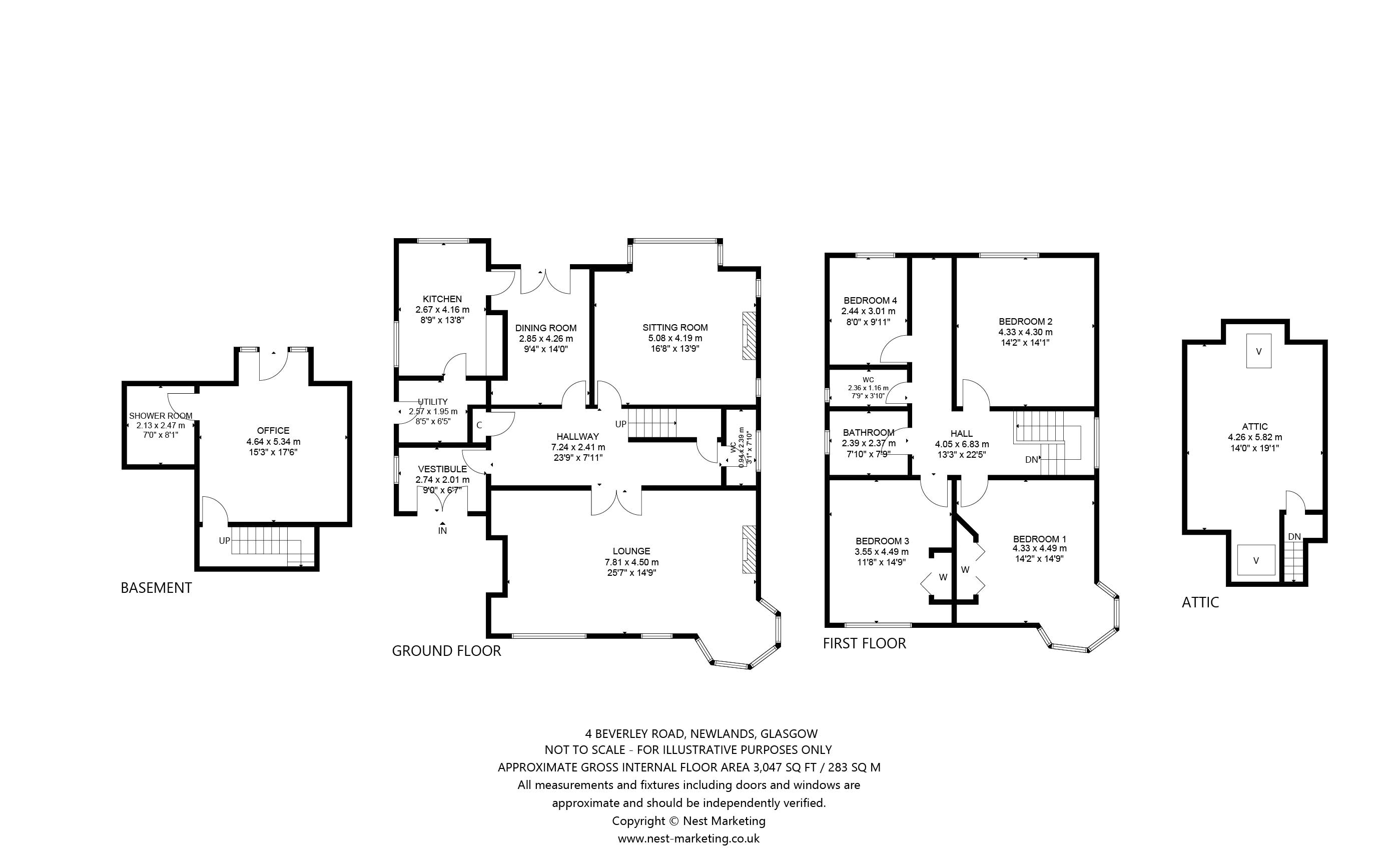 Floorplans for Beverley Road, Newlands, Glasgow, G43