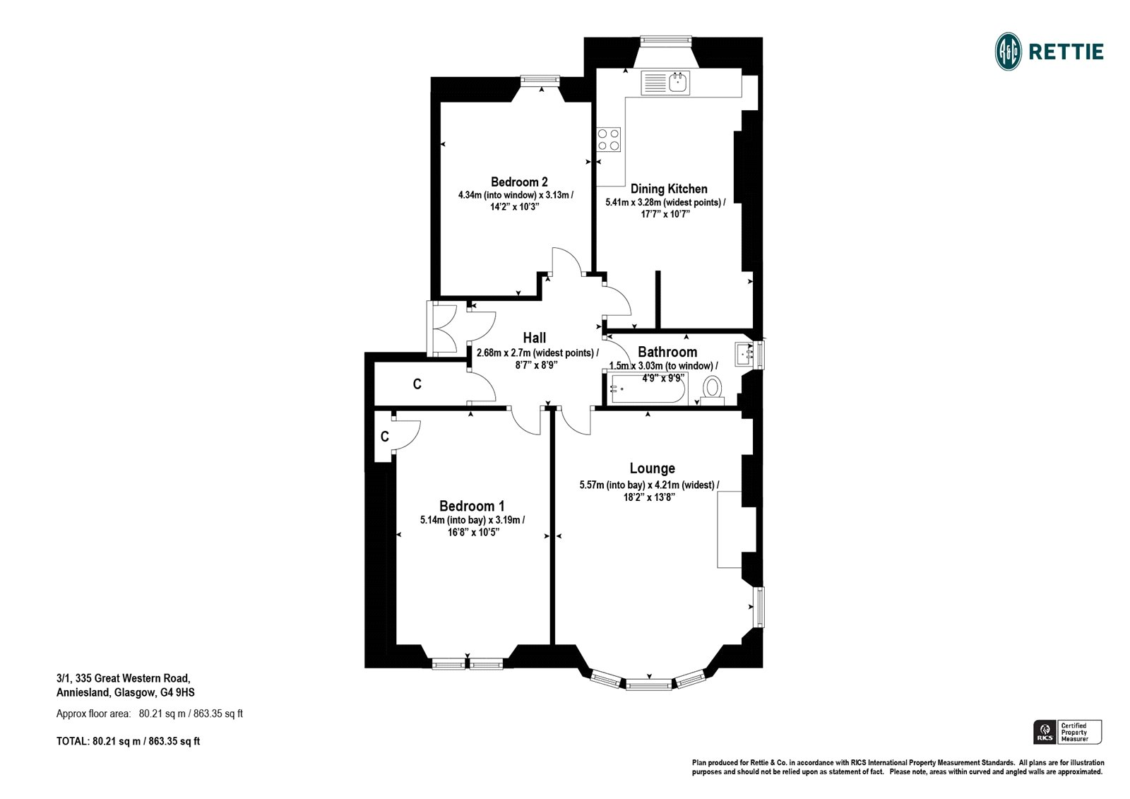 Floorplans for Great Western Road, Woodlands, Glasgow, G4
