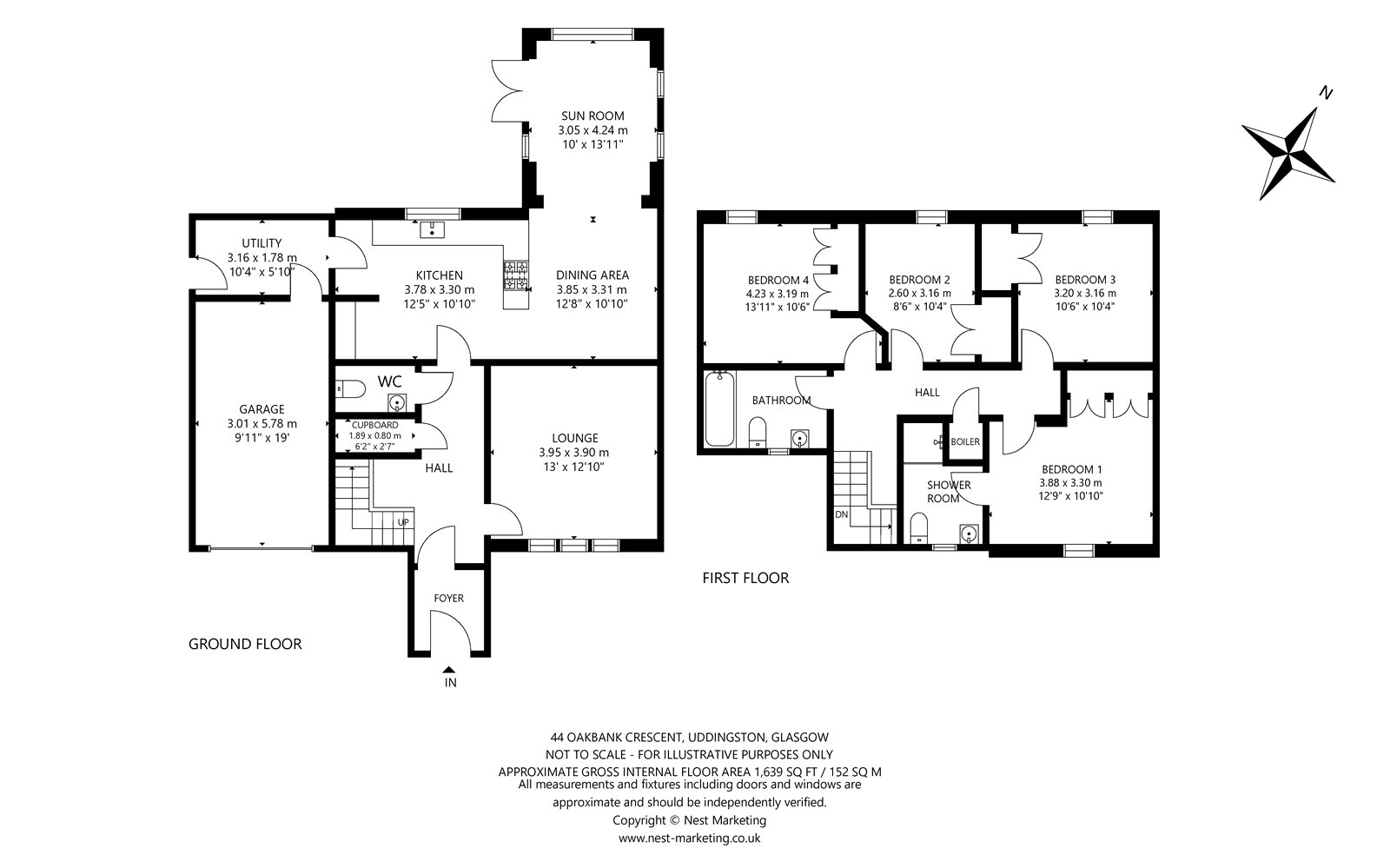 Floorplans for Oakbank Crescent, Uddingston, Glasgow, G71