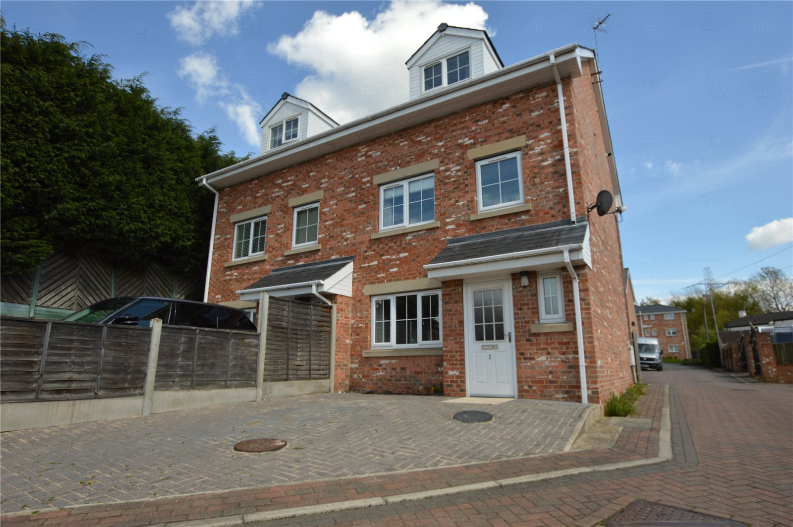 Property for sale in Wakefield, exterior front of home, semi detached red brick