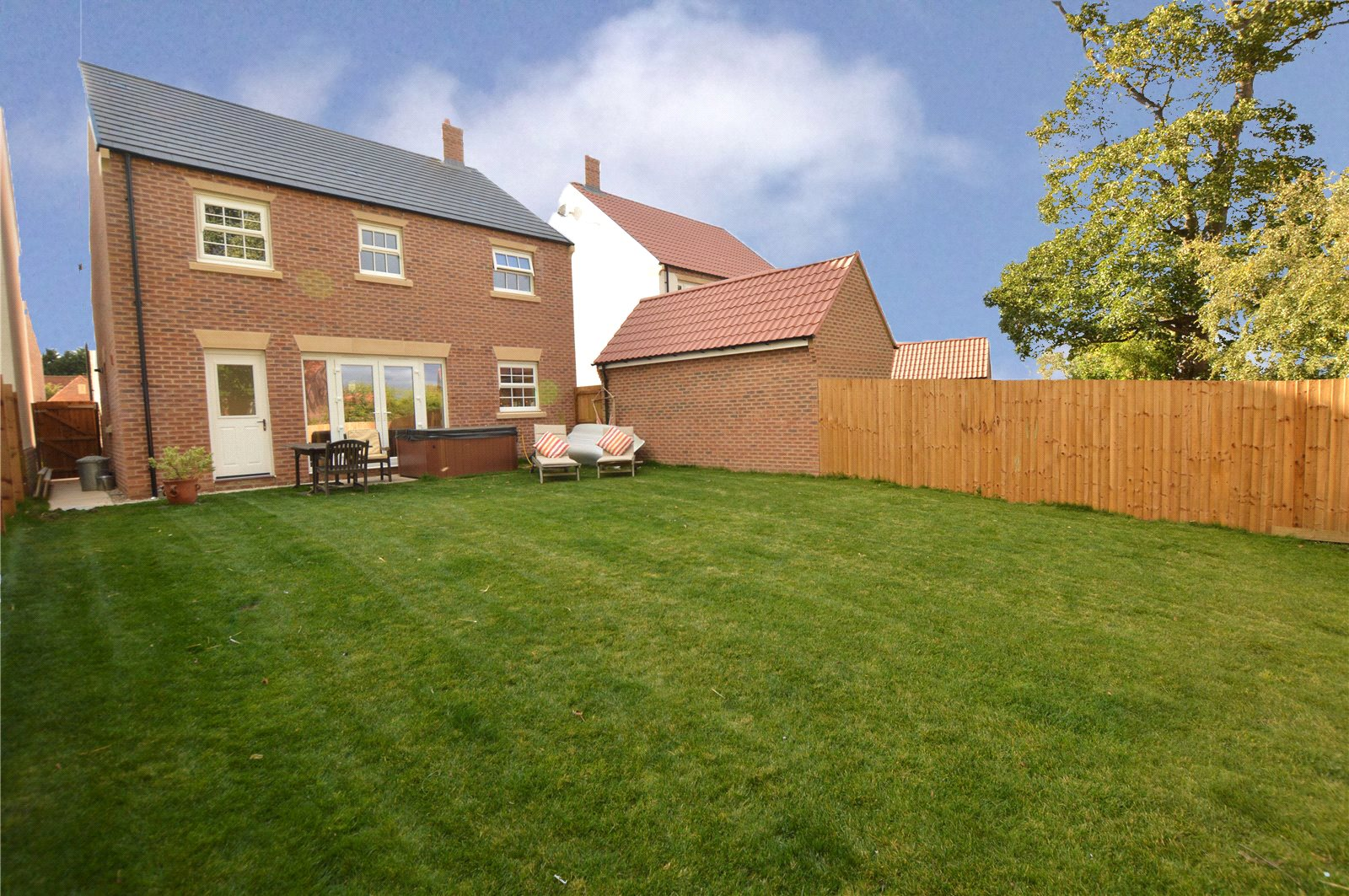 property for sale in green hammerton, exterior, rear garden. green lawn and garden furniture.
