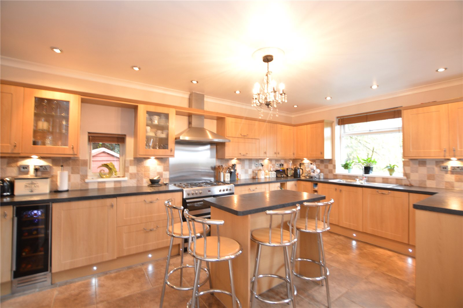 property for sale in Morley, modern fitted spacious kitchen with breakfast bar